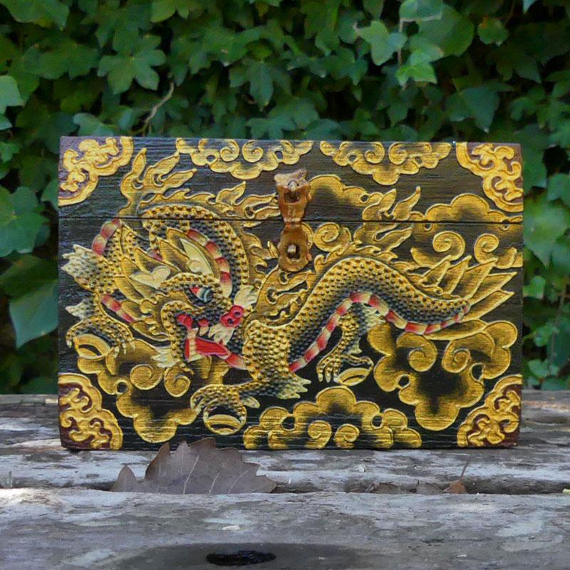 CAJA TIBETANA DRAGON de artesania CAJAS INDIAS BANJARAS CAJAS NEPAL