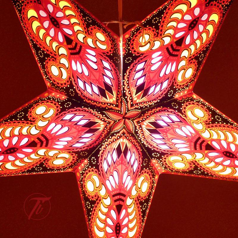 LAMPARA ESTRELLA ROJA NEGRA de iluminacion