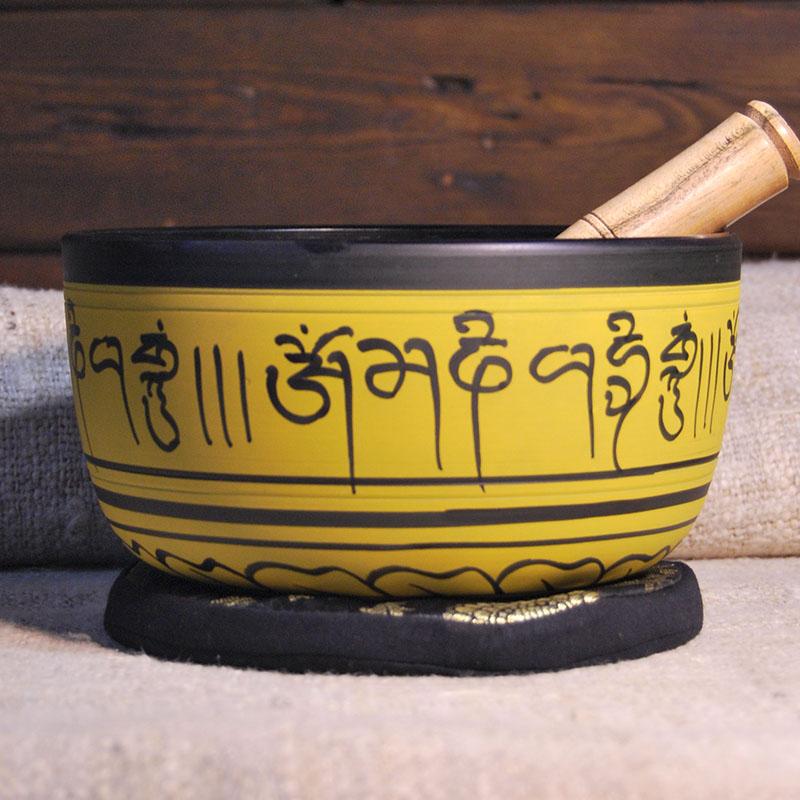 Cuenco Tibetano Amarillo 18 cm de cuencos tibetanos 5 METALES 7 METALES GRABADOS ORISSA ESPECIALES THADOS