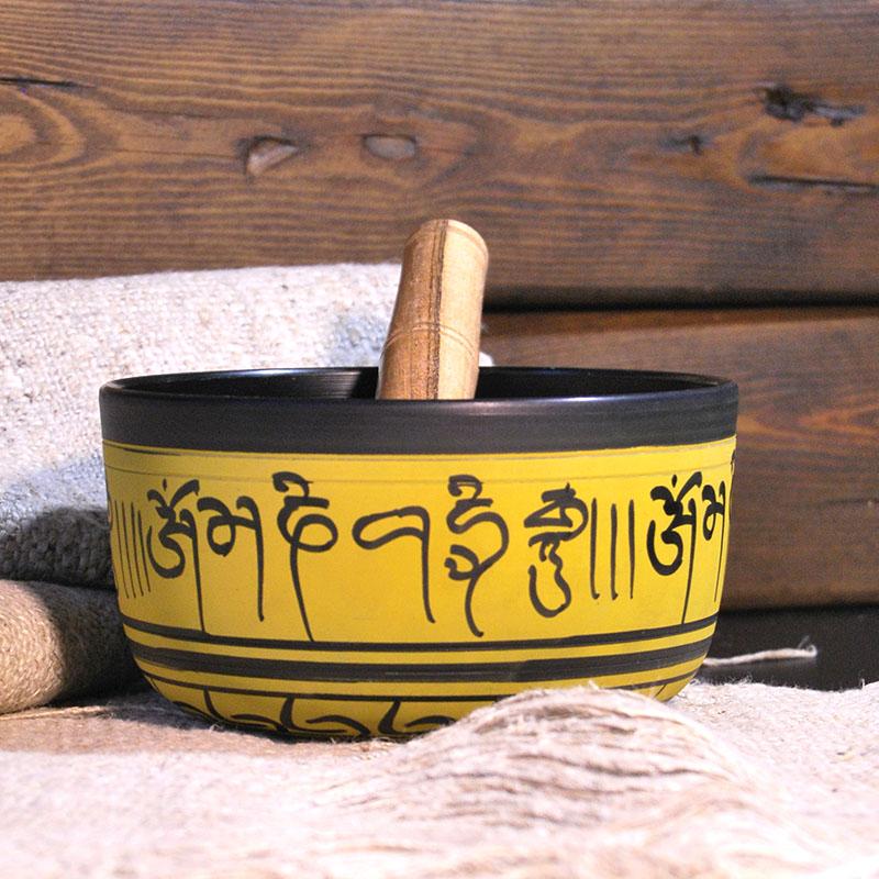 Cuenco Tibetano Amarillo 15 cm de cuencos tibetanos 5 METALES 7 METALES GRABADOS ORISSA ESPECIALES THADOS