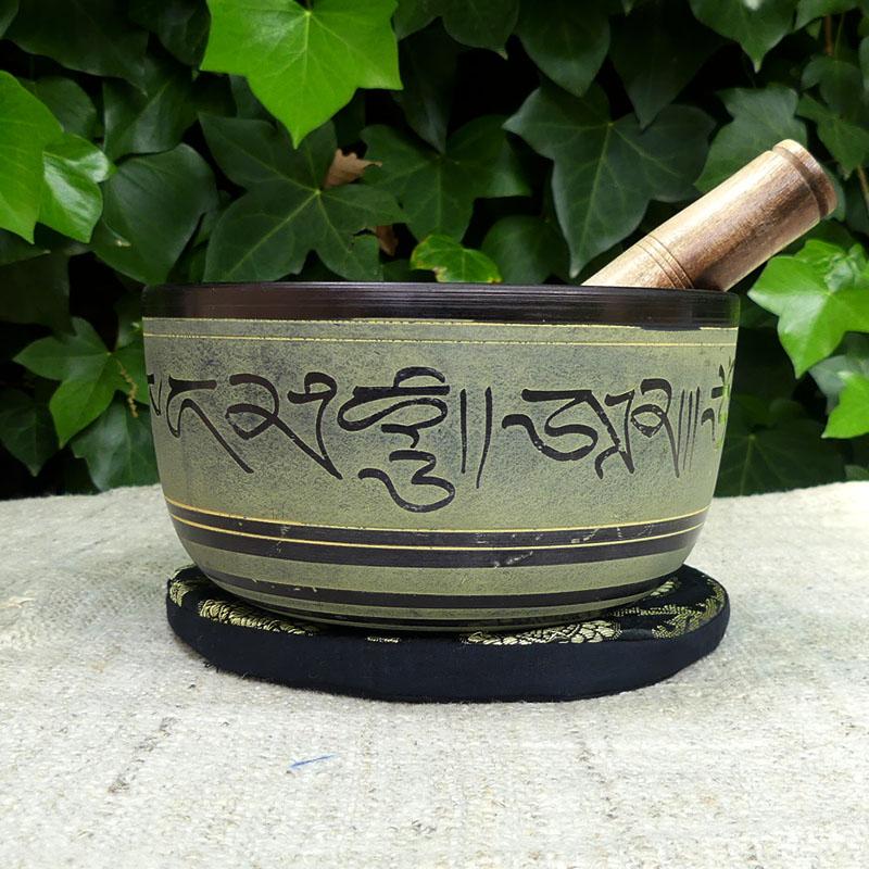 Cuenco Tibetano Verde 17 cm de cuencos tibetanos 5 METALES 7 METALES GRABADOS ORISSA ESPECIALES THADOS